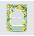 Baby Arrival Card with Photo Frame - Lemon Flowers vector image