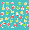 apple strawberry and pear fruit background vector image