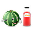 bottle of watermelon juice with cute watermelon vector image