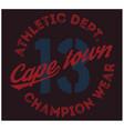 cape town sport t-shirt design vector image