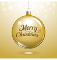 Golden christmas ball on snowflakes background vector image
