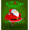 Greeting Christmas card with cute cartoon Santa vector image