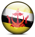 Map on flag button of Brunei Darussalam vector image