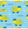 Seamless pattern with cute hippo and lattering vector image