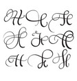 set of art calligraphy letter h with flourish of vector image