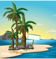 An empty signboard at the beach vector image vector image