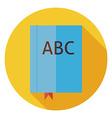 Flat Reading Book with Bookmark Circle Icon with vector image