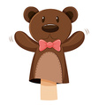 Bear hand puppet with pink bow vector image