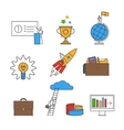 Business flat line icon set vector image vector image