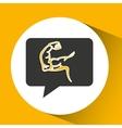 arm muscles sport emblem laurel branch vector image
