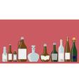 Bottles set alcoholic beverages vector image