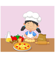 Cartoon little girl baking vector image