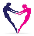 Man and woman body silhouette in heart vector image