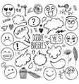 set of hand drawn doodle bubbles faces vector image