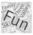 fun valley ski vacations Word Cloud Concept vector image vector image