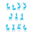 Blue Llama with Various Expressions vector image