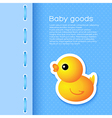 Blue Background with Cartoon Duck vector image vector image