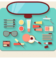 Dressing table with cosmetics Top view vector image