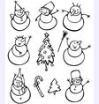fun snowmen vector image vector image