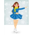 woman skating outdoors on the ice rink vector image