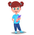 back to school cute girl with books in casual vector image