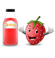 bottle of strawberry juice with cute strawberry ca vector image