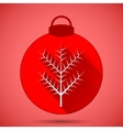 Christmas icon with the branch on a pink vector image