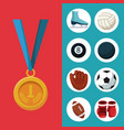 color background with golden medal first place and vector image