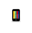 Mobile phone with colorful screen vector image
