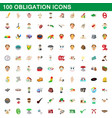 100 obligation icons set cartoon style vector image