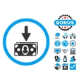 Banknotes Income Flat Icon with Bonus vector image