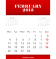 February 2013 calendar design vector image
