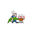Chef Alligator Spatula BBQ Grill Cartoon vector image