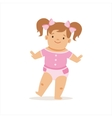 Girl With Ponytails Making First Steps Adorable vector image