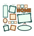 empty vintage wooden frames for home photo vector image