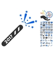 2017 Firecracker Icon With 2017 Year Bonus vector image