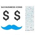 Millionaire Mustache Icon with Flat Set vector image