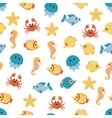 Seamless pattern with cartoon sea animals on white vector image