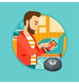 Man controlling vacuum cleaner with smartphone vector image vector image