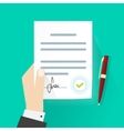 Business man hand holding legal contract document vector image