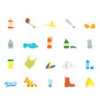 cartoon trash and garbage color icons set vector image
