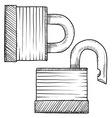 Doodle lock padlock secure vector image