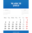 Mar 2013 calendar design vector image