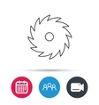 Circular saw icon Cutting disk sign vector image