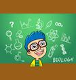 school boy write chemistry biology vector image vector image