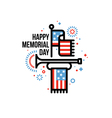 Memorial Day card with American flag and bugle vector image vector image