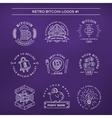 Bitcoin logo templates set Cryptocurrency badge vector image