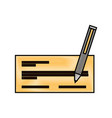 check bank with pen icon vector image