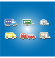 color icons with trailers vector image