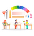 origami banner with people and working tools vector image